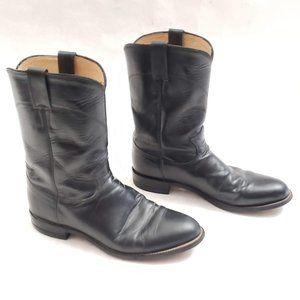 🤠 Justin Classic Black Leather Roper Boots Sz 9 D